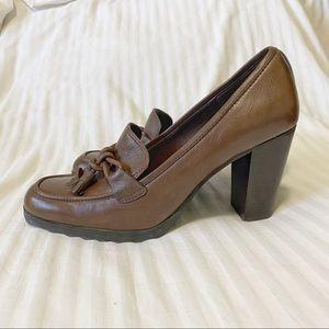 Vtg Hilary Radley Mabel Leather Tassel Heels Brown Size 10